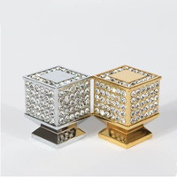 21mm Fashion Luxury Diamond Furniture Decoration Knob K9 Crystal Drawer Cabinet Handle Knob 24K Gold Shiny