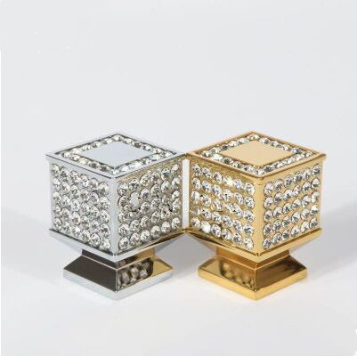 fashion deluxe glass diamond furniture decoration handles 24k gold drawer cabinet knob pull clear crystal silver