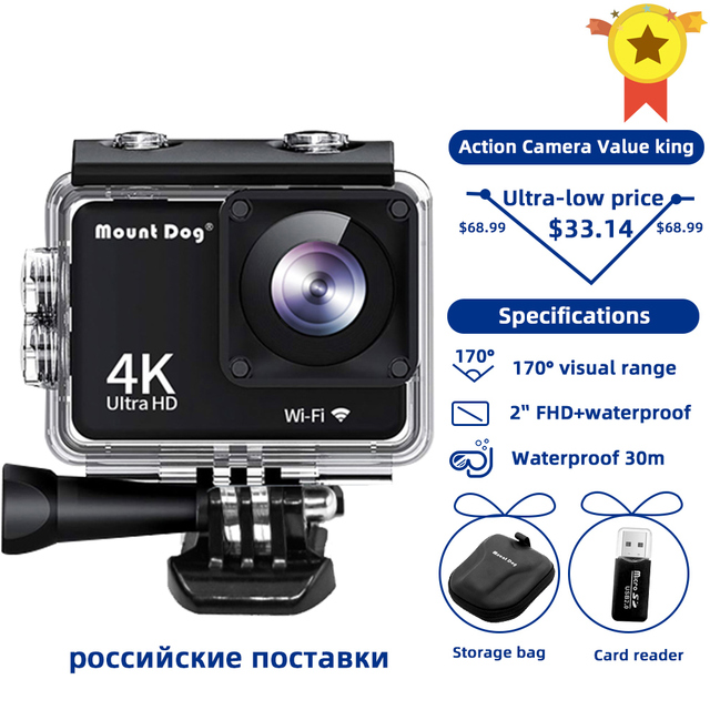 Ultra HD 4K Sport Action Camera Wifi 170D 30fps Go pro Accessories Selfie Stick Chest Strap Belt For Sport Video Action Cam