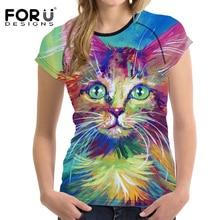 FORUDESIGNS Cute 3D Cat Painting T Shirt Woman Tops Fashion Shirt For Ladies Casual Clothes O Neck Summer Breath Women Tee Shirt