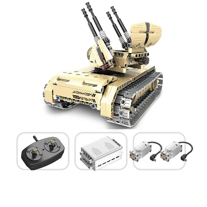 457 шт. техника военный пульт дистанционного управления RC самоходный анти-самолет пистолет Танк 360 Поворот USB строительный блок кирпичная игр...