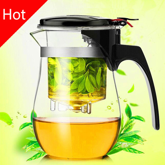Hot sale 500ml Heat Resistant Glass Tea Pot Flower Tea Set Puer kettle Coffee Teapot Convenient Office Teaset 1pcs,kung fu set.