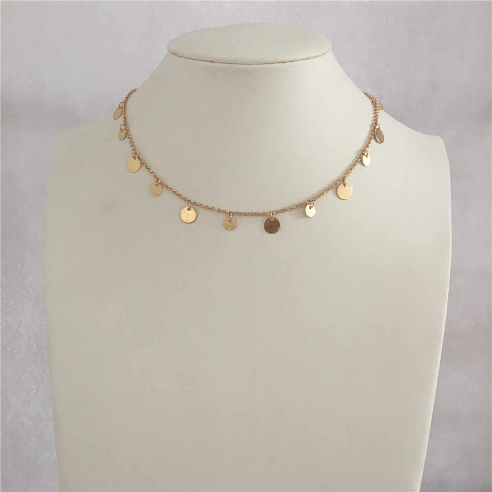 CUTE Light GOLD COLOR SMALL MEDIUM ROUND DISC CHOKER NECKLACE FOR WOMAN GIRL