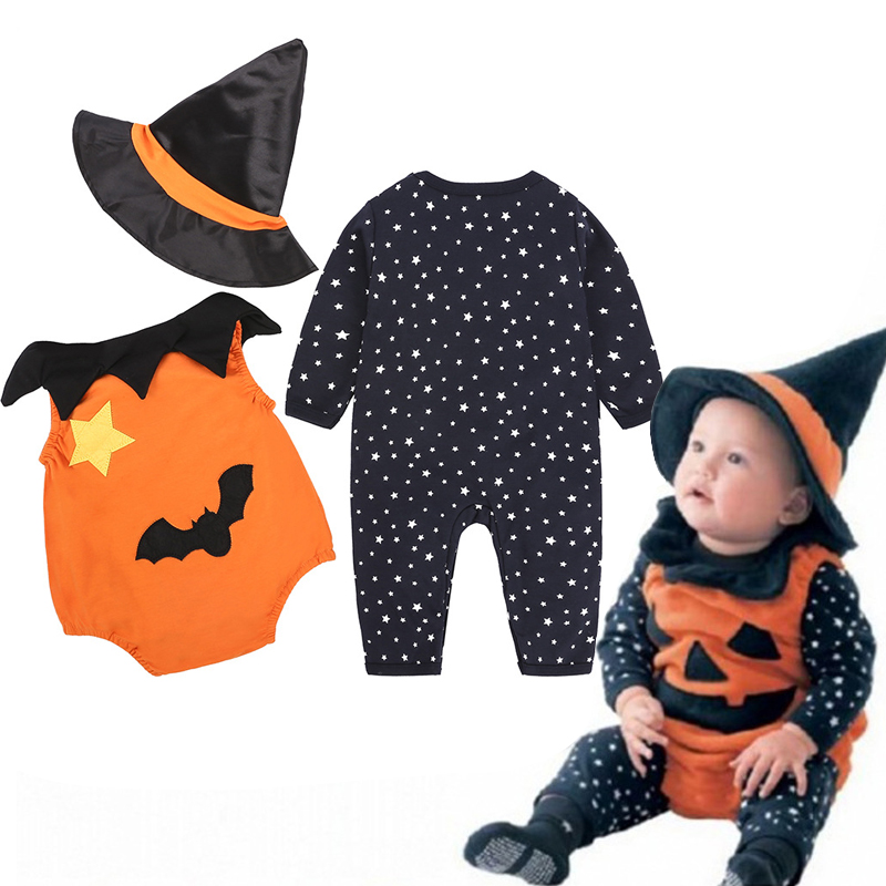 2019 Halloween   Romper   Autumn Winter Newborn Christmas Baby   Rompers   Boy Clothes Kids Costume For Girl Infant Pumpkin Demon Hat