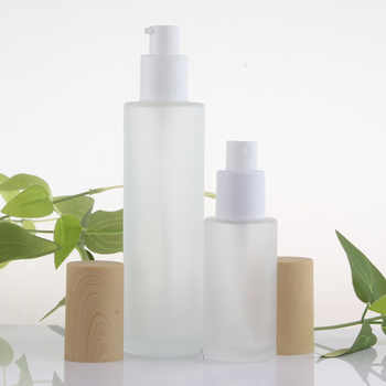 120ml,100ml,80ml,60ml,30ml,20ml Frosted Glass Lotion Pump Bottle,Wood Grain Cap,30g 50g Empty Cream Jar,Cosmetic Packing Bottle