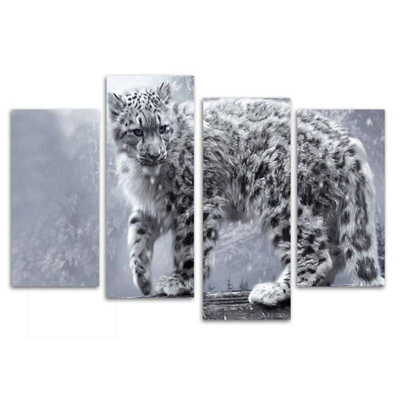 Léopard des neiges 4 pièces toile couture bricolage diamant broderie diamant peinture point de croix plein carré rond Mozaik puzzleZP-2812