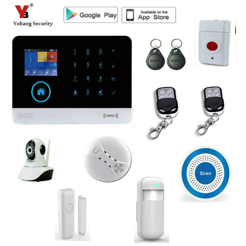 Yobang Security WIFI GSM Alarm System 2.4 Inch Display Touch Screen Home Alarm System Security with PIR Motion Detector yobang security wifi gsm home security alarm system with ip camera digital alarm with wireless intelligent pir motion wifi alarm