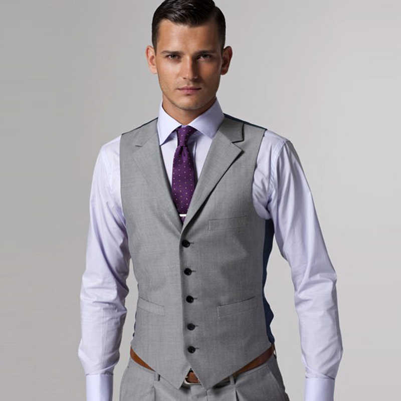 b9bf7354c9f1d Custom Made Gray men wedding dress 2018 Tuxedo Groom Formal Suit Mens 3  pieces (jacket+vest+pants) wedding man suit dresses