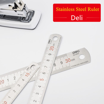 steel ruler deli 8461 15cm 8462 20cm scale student stationery stainless 30cm straight