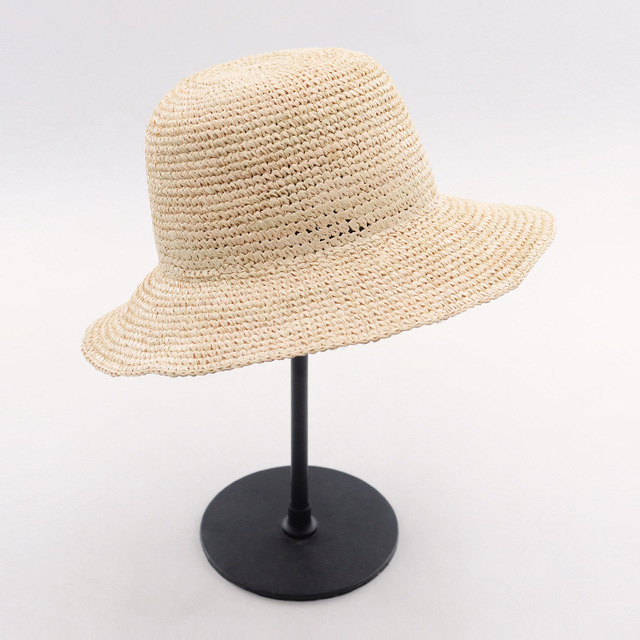70eb72d8313 Muchique Bucket Hat Summer Straw Hats Beach Sun Hat for Women Raffia  Crochet Packable Hat