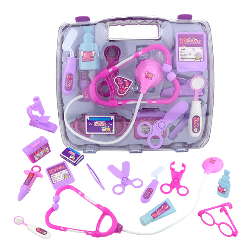 15pcs/set Children Pretend Play Doctor Nurse Toy Portable Suitcase Medical Kit Kids Educational Role Play Classic Toys image