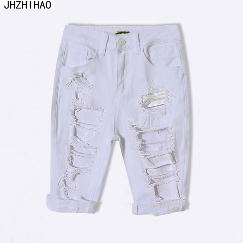 a2ec0326df Pantalones Cortos Mujer New Arrival Summer White Shorts Women High Waist  Shorts Ripped Short Jeans Woman Denim Shorts -in Shorts from Women s  Clothing on ...