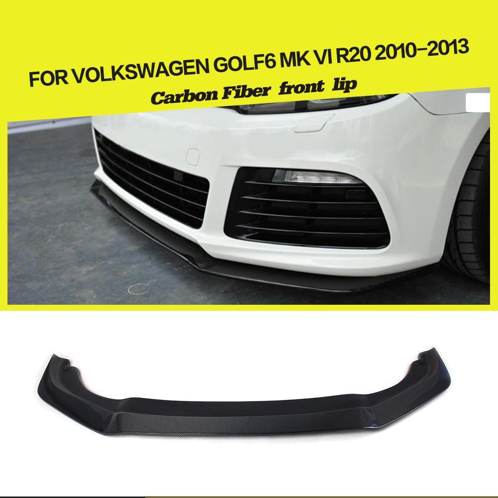 carbon fiber front bumper lip spoiler for VW Golf VI MK6 R20 bumper 2010-2013 2010 2013 mk6 abs auto car mesh bumper grille front grills for vw golf vi mk6 standard bumper