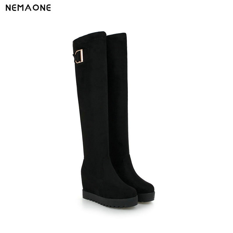 Brand Sexy Winter Wedges Flock Knee High Boots For Women Snow Fur Shoes High Heels Platform Women Long Boots Plus Size 32-43 morazora plus size 34 44 classic fashion flock nubuck leather knee high boots women winter snow high heels platform boots shoes