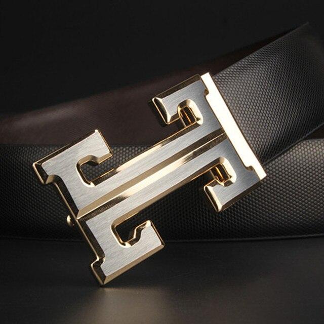 2017 marca casuais letra H fivela cintos de grife homens de alta qualidade cinta masculina de couro Genuíno ceinture homme MENS cintos de luxo