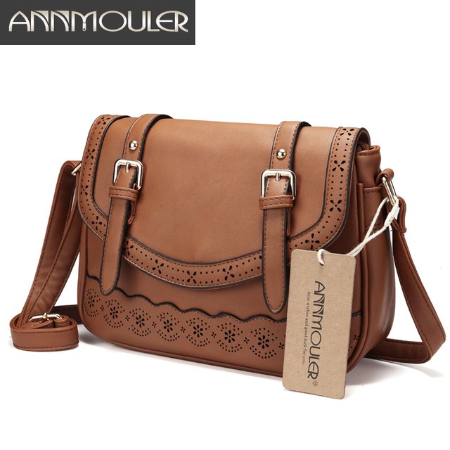 8343eb6315 Annmouler Vintage Women Shoulder Bag High Quality Hollow Out Crossbody Bag  Pu Leather Lace Messenger Bag for Ladies Large Bag