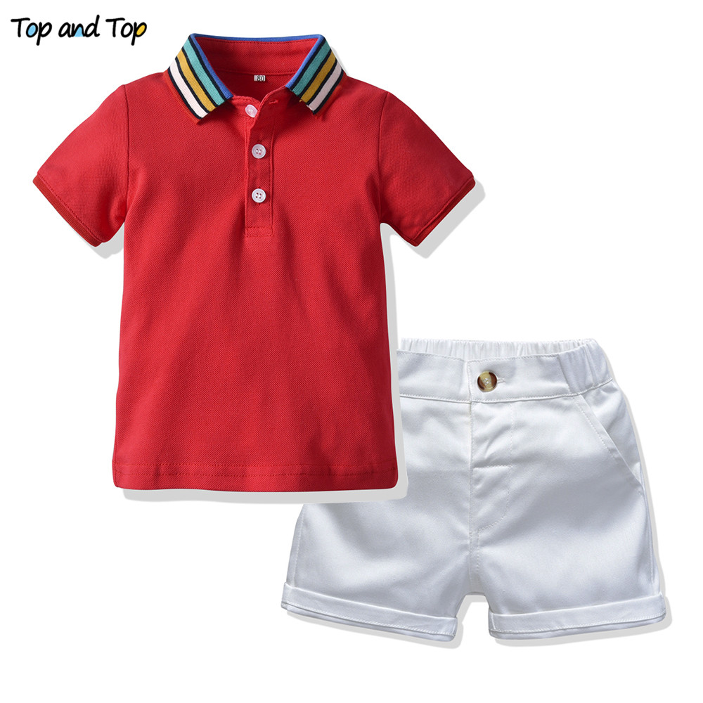 Top And Top Summer Boys Clothing Sets Short Sleeve Striped Cotton T-shirt Blouse+Short Pant Kids Boy Gentleman Clothes 2Pcs Suit