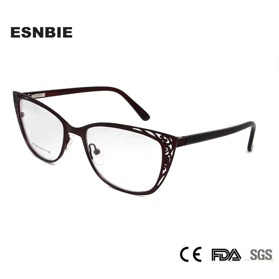 Image 2 - ESNBIE Metal Vintage Cats Eye Glasses Frames For Women Fashionable Spectacle Frames Cat Eye Woman Optical Eyeglasses FramesWomens Eyewear Frames   -
