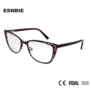 Image 2 - ESNBIE Metal Vintage Cats Eye Glasses Frames For Women Fashionable Spectacle Frames Cat Eye Woman Optical Eyeglasses Frames