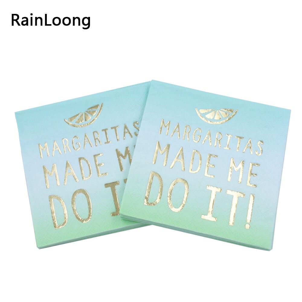 [RainLoong] 3-Plys Foil Gold Beverage Paper Napkins Margaritas Made Me Do It For Party Decoration Tissue Serviettes 25*25cm