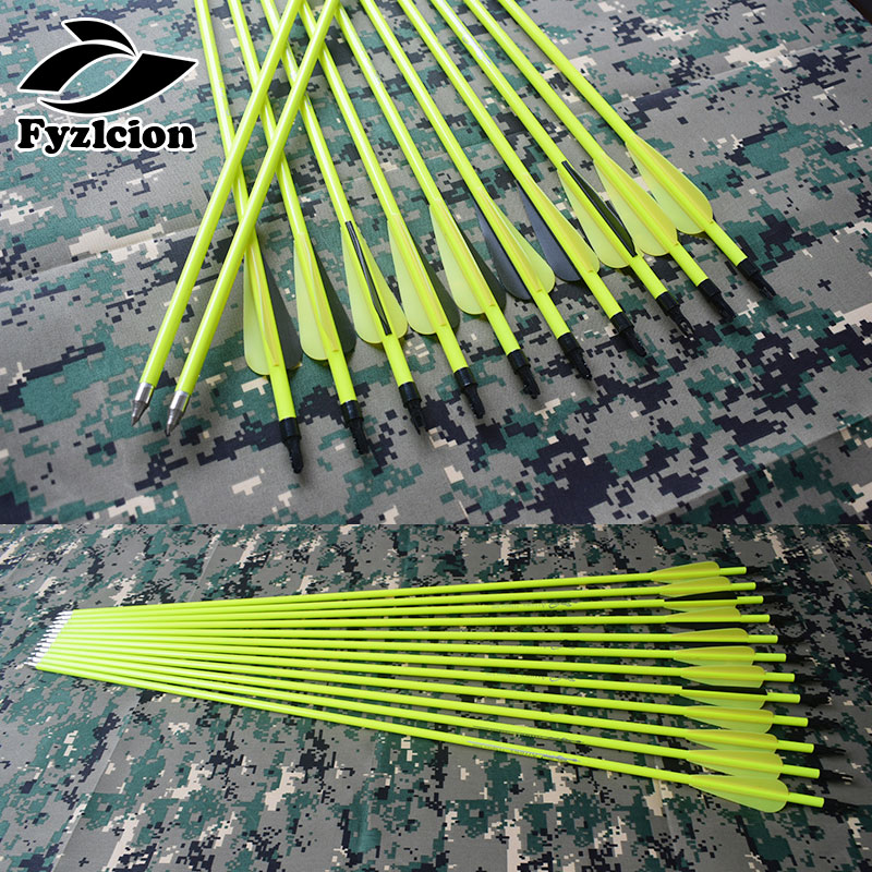 6/12/24pcs Hunting Composite Bow Yellow Shaft Carbon Arrow Replaceable Arrow 30 Inches Yellow Black Vanes