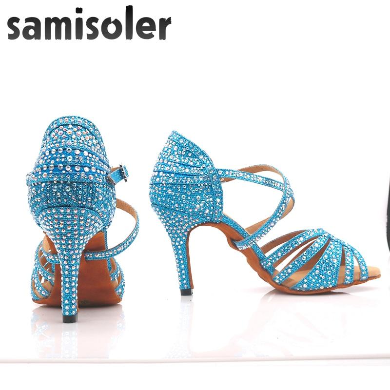 Samisoler Deep blue New Latin Dance Shoes ballroom dance shoes ballroom latin dance shoes Rhinestone Ballroom Shoes latin shoes in Dance shoes from Sports Entertainment