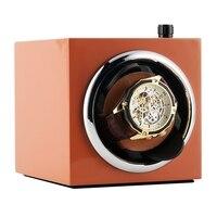 오렌지 휴대용 자동 시계 와인 더 자동 모터 상자 자동 감기 회전 시계 홀더 셰이 커 상자 기계식 시계