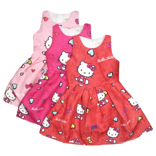 Hello Kitty Dress For Girls Princess Birthday Party Clothes Children Dresses Clothing Kids Costume