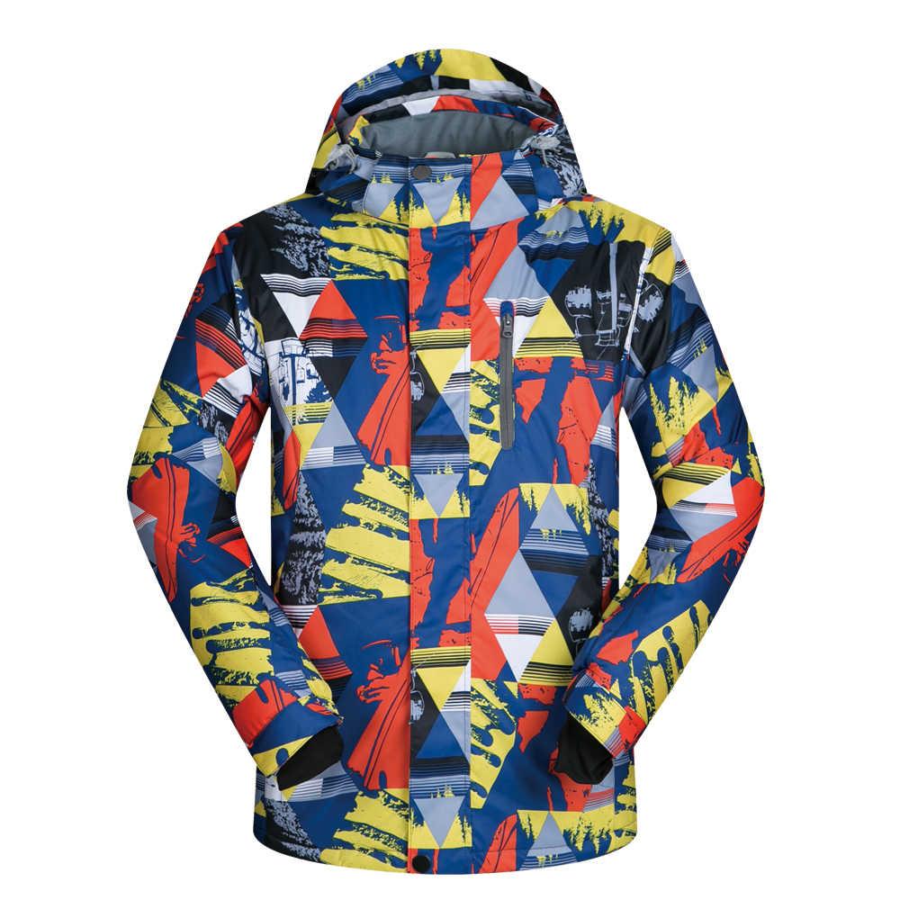 男性スキージャケットブランド新アウトドアスポーツ防風防水熱フード付きコートの男性雪のスキーやスノーボードジャケット冬