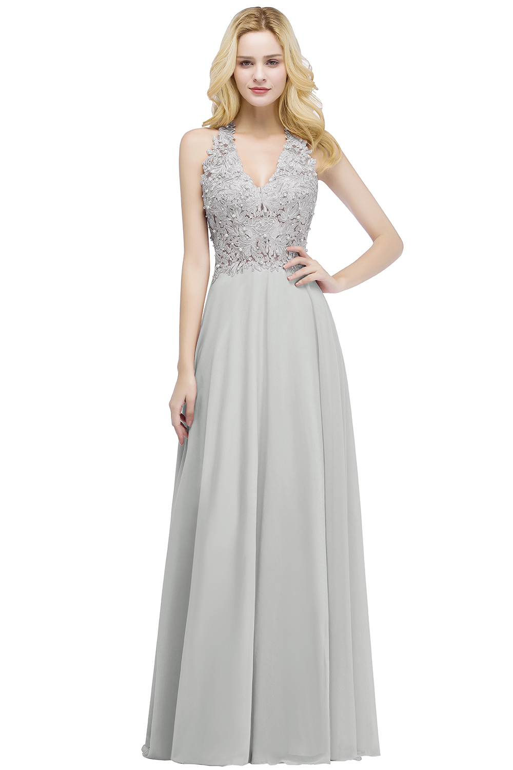 Elegant A Line Illusion Back with Pearls Floor Length Evening Dress 6