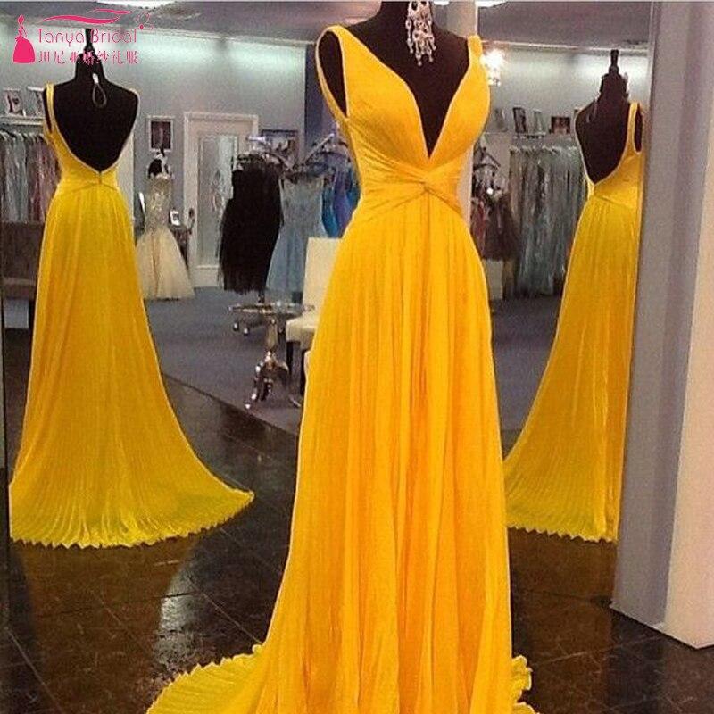Orange Long   Prom     Dresses   Sexy V-Neck Chiffon Backless Evening   Dresses   Vestido De Festa Z910