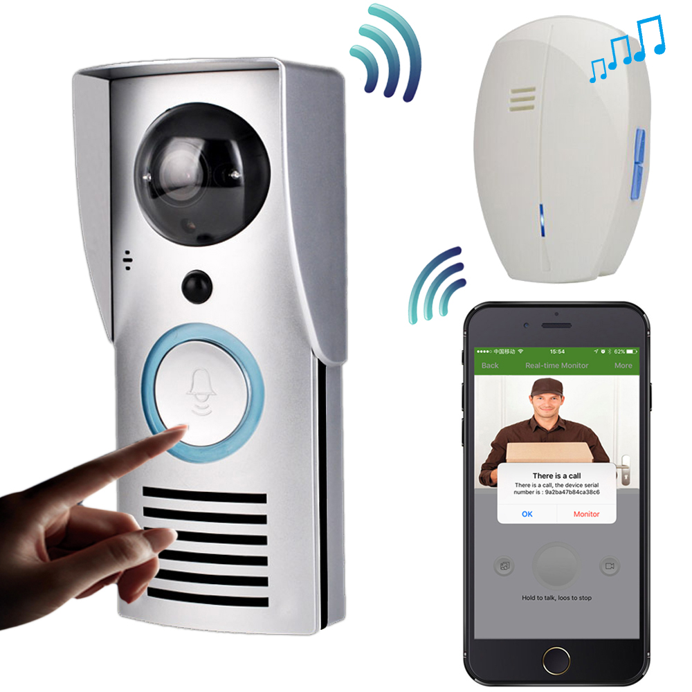 CUSAM WIFI 720P Video Doorbell Wireless Door Phone Intercom Monitor Smart Bell HD Camera PIR Motion Sensor Night Vision Unlock