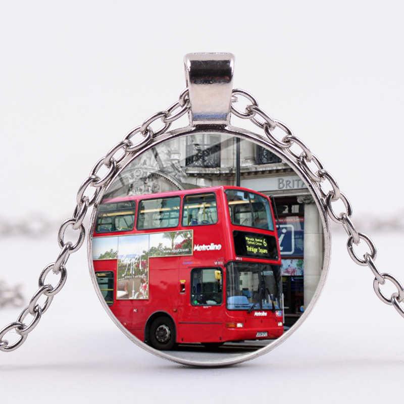 SIAN Londra İngiltere Kırmızı Çift Katlı Otobüs Kolye Yaratıcı Sokak Görünümü sanat resmi Cam Cabochon Kolye Hatıra Arkadaşlar Hediye