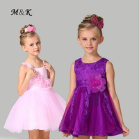 Fashion Sunny Flowers Girls Dress With Crystal For Party Weddings Dresses Lace Kids Princess Dress Children