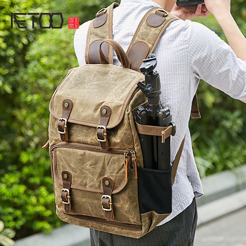 AETOO New photography backpack waterproof large capacity wax dye canvas backpack outdoor camera bagAETOO New photography backpack waterproof large capacity wax dye canvas backpack outdoor camera bag