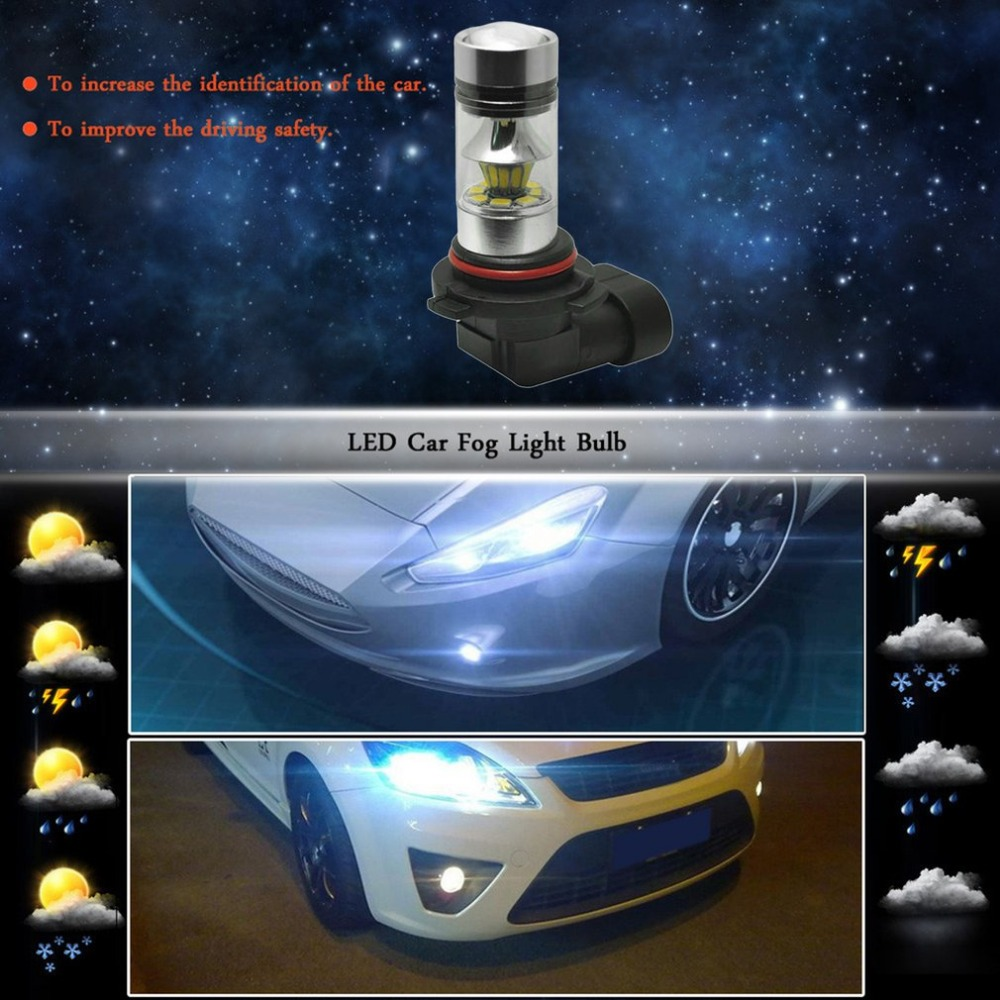 High Power Car Fog Light 20 LED 100W 2323 9005 Clip Professional Auto Daytime Running Lights Stable Performance Driving Bulb high quality h3 led 20w led projector high power white car auto drl daytime running lights headlight fog lamp bulb dc12v