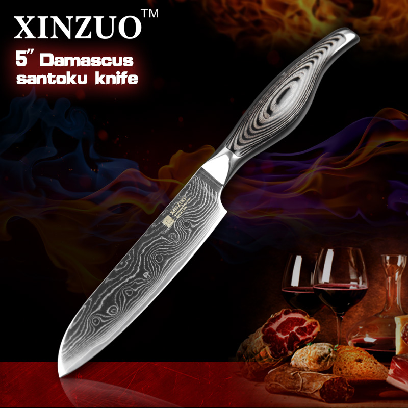 5 inches santoku font b knife b font Japanese VG10 Damascus kitchen font b knives b