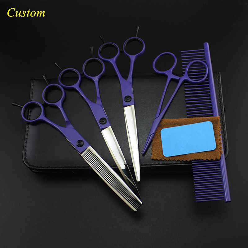 Custom 5 kit japan 440c 7 inch purple Pet dog grooming hair scissors cutting shears thinning barber hairdressing scissors set purple dragon 7 inch pink black thinning pet shears dog hair scissors clipper for dogs professional grooming tool for dog cat