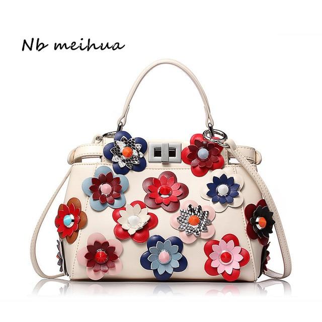 05b27c02ec49 Women Genuine Leather Peekaboo Bags Flowers Luxury Handbags Famous Brands  Designer Messenger Bags Tote Fashion Shoulder Bags