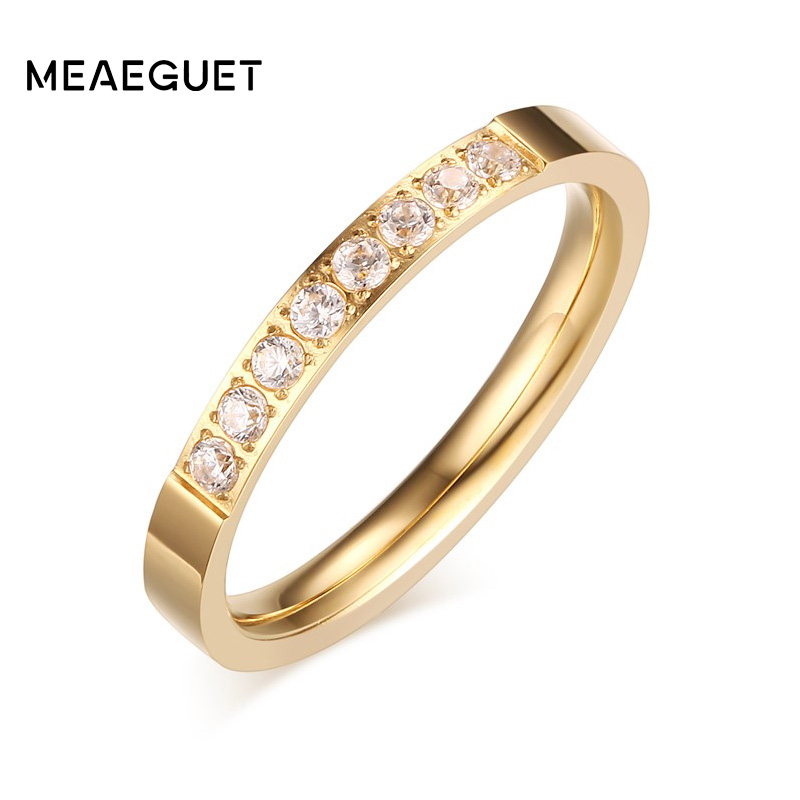 Meaeguet 3mm Romantic Wedding Engagement <font><b>Rings</b></font> For Women AAA+ CZ Stone Gold-Color Stainless Steel Fashion Female Wedding Bands