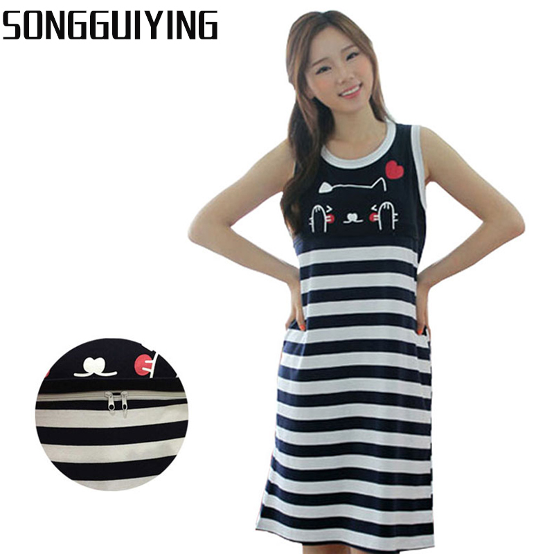 db405b029e2 SONGGUIYING A42 Nursing Breastfeeding Clothes Pregnant Clothing Dress  Maternity Big Cotton Tank Dress Pregnancy Summer Wear