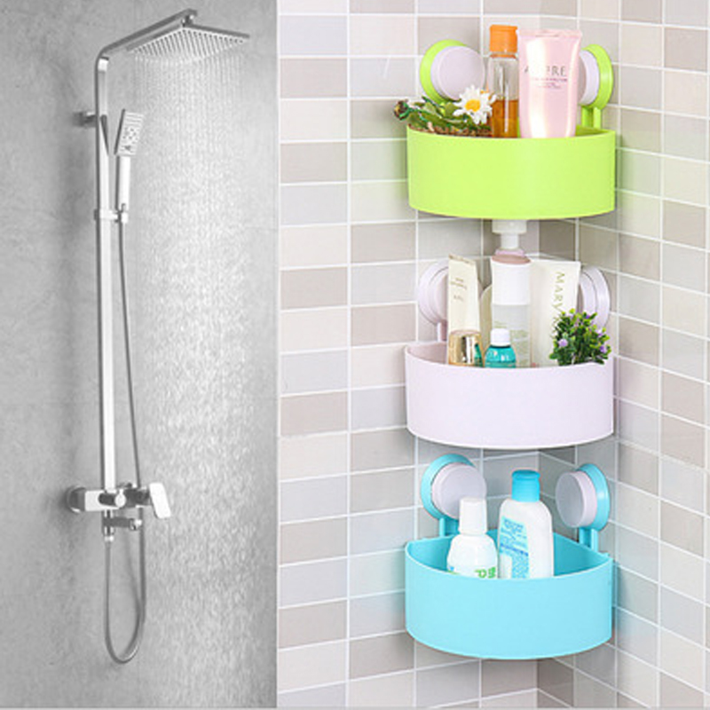 Suction Cup Strong Adhesive Corner Bathroom Shelf Bathroom Wall Hanging Corner Triangle Rack Free S dehub super suction cup wlla mounted bathroom corner shelf shower organizer corner bathroom shelf shower rack bathroom rack