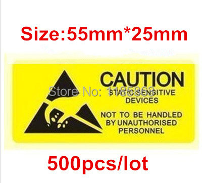 High Quality ESD CAUTION Sticker Warning Labels 55x25mm 500pcs/lot Waterproof PVC Material Adhesive Labels Free Shipping