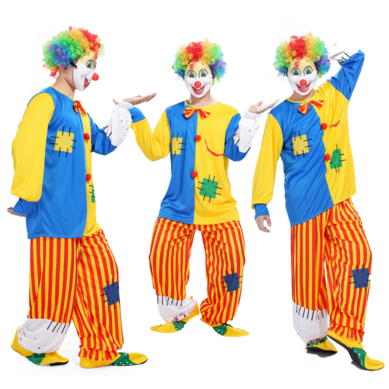 Halloween adult clown costume clown suit masquerade costume cosplay magic show bloody funny striped clown suit