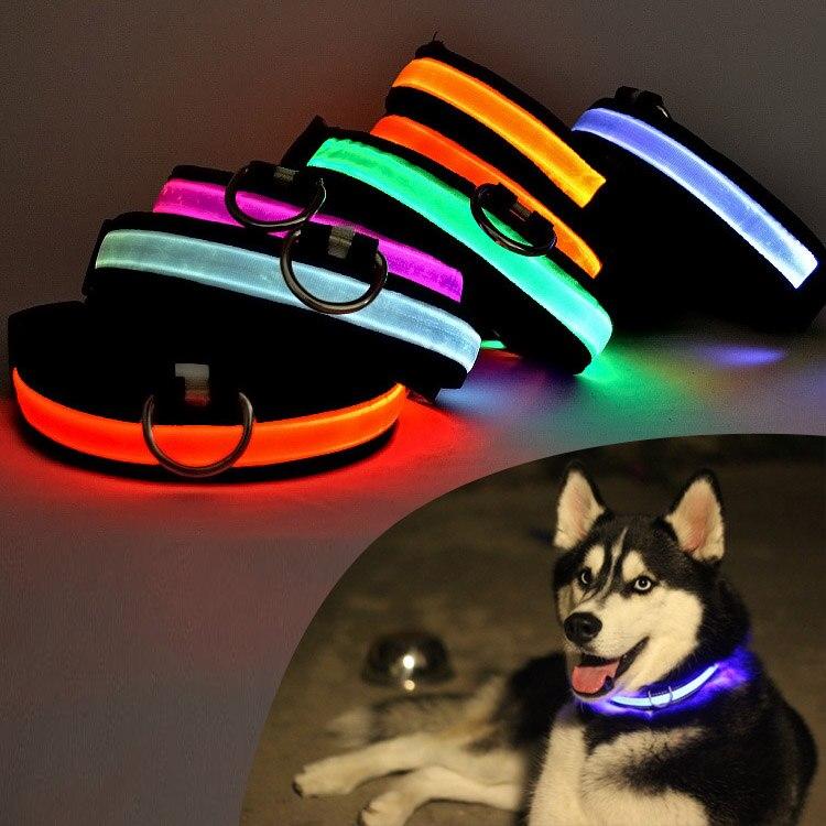 Светодиодный собака, кошка ошейник нейлон Glow проблесковый маячок на ночь Детская безопасность <font><b>USB</b></font> Перезаряжаемые световой щенок Воротники з&#8230;