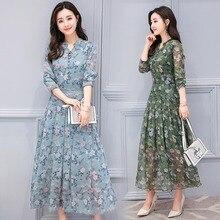 Новая осень Цветочные Slim Fit шифоновое платье с Полный обычные рукава женский v-образным вырезом до середины икры с цветочным принтом Наряды бохо