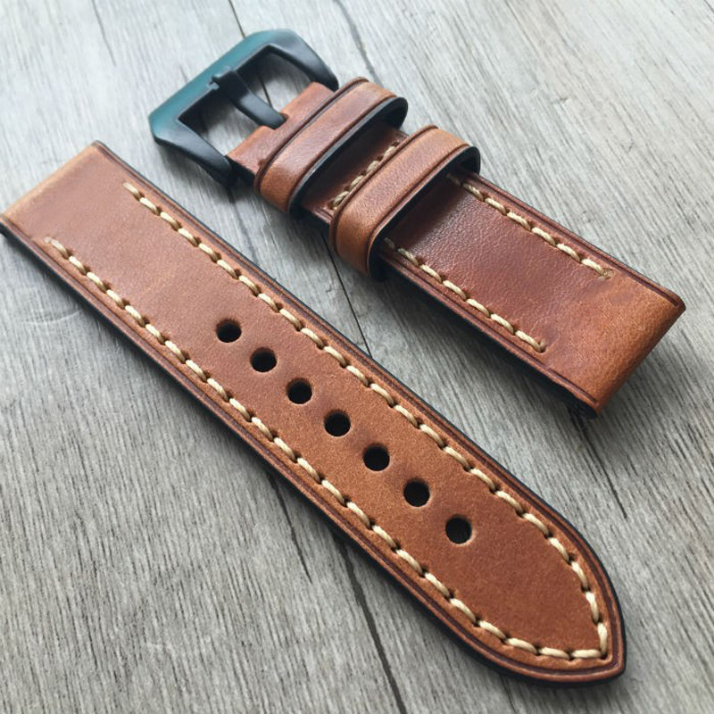 TJP Top Quality 20mm 22mm 23mm 24mm 26mm Red Brown Vintage Italy Calf Leather Strap Watchband For PAM Tissot/Timex Pilot Watch the wallflower 22 23 24