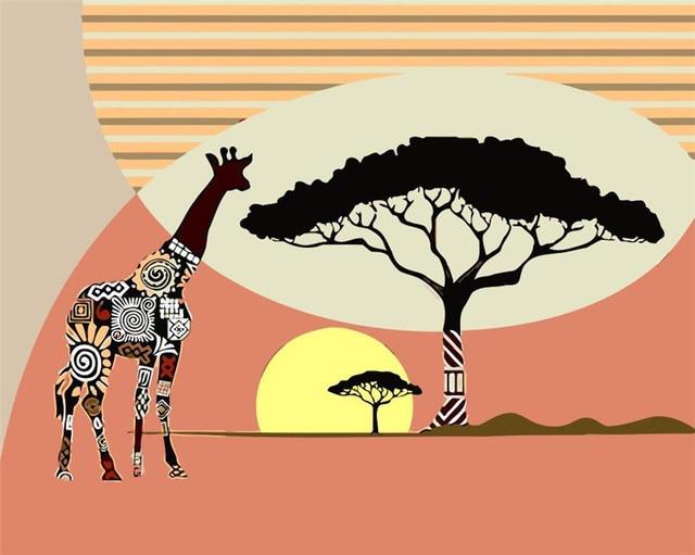 Us 862 49 Offrahmenlose Vintage Giraffe Diy Malen Nach Zahlen Hochzeit Decor Hand Bemalte Leinwand Gemälde Für Wohnzimmer Wandkunst Bild In