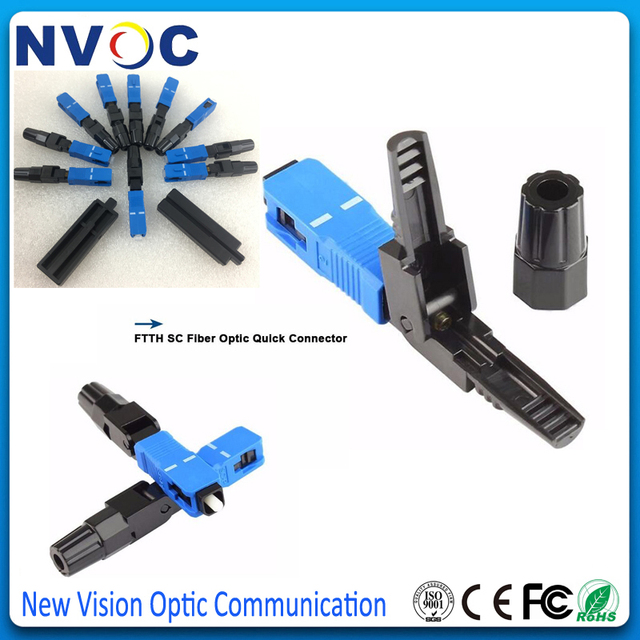 100 Pieces SC UPC Fast Connector Embedded Connector FTTH Tool Cold Fiber Fast Connector