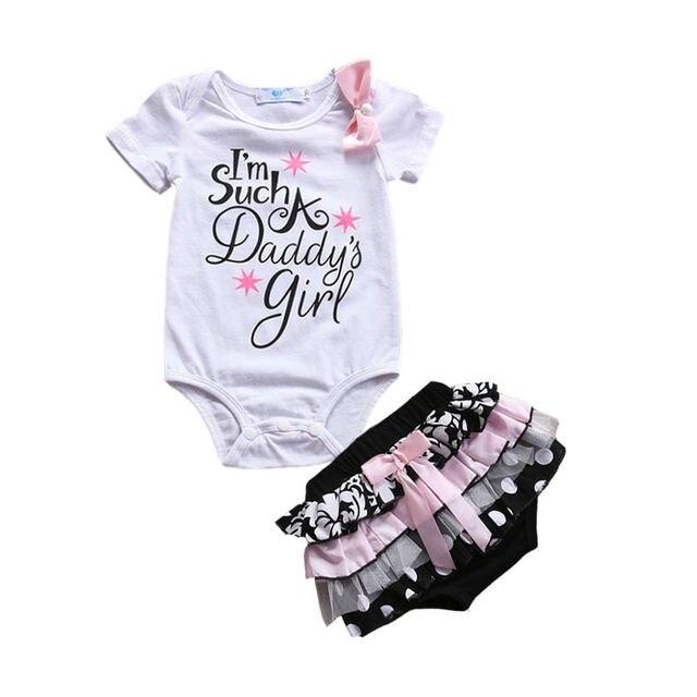 Bodysuits קצר שרוול כותנה חמוד תחרה מכנסיים קפלי קיץ בגדי 2 יחידות יילוד תינוקות בייבי בנות בגדים סטי חולצות